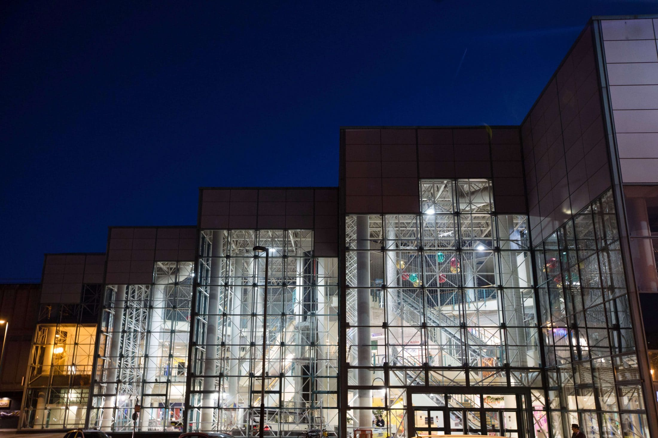 The Skelmersdale Concourse shopping mall lit up at night