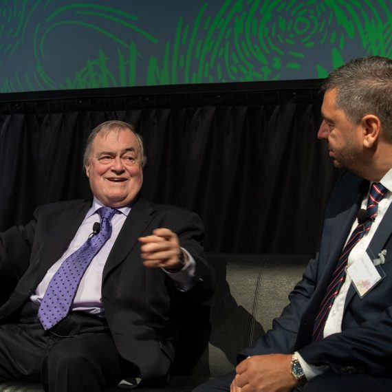 John Prescott talks to Mark Whitworth at the Skelmersdale Ambassador event in May 2019