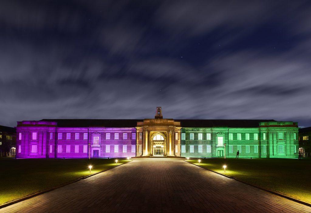 Photo of Edge Hill University building at night